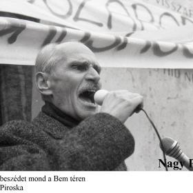 Pákh Tibor beszédet mond a Bem téren
