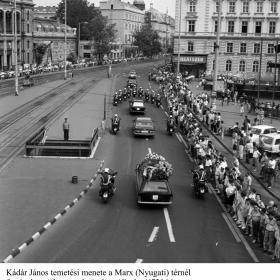 Kádár János temetési menete a Marx (Nyugati) térnél